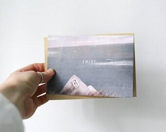 enjoy. postcard // simple postcard for a friend. sea illustration. vacation postcard.