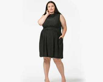 Sideways Collar Sleeveless Dress in Polka Dot with pockets available in sizes 6-36 (most sizes made to order)