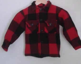 Vintage 1970's Kids' Bemidji Woolen Mills Red Black Buffalo Plaid Hunting Jacket Shirt Sz 6 Rustic