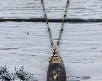 Lodolite Quartz necklace, scenic Quartz, garden Quartz,