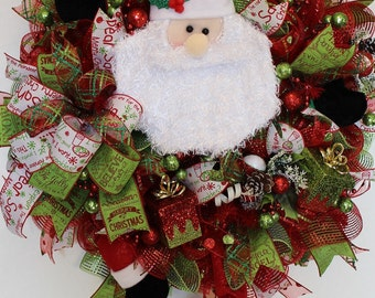 Santa Wreath, Santa Mesh Wreath, Santa Christmas Wreath, Christmas Santa Wreath, Santa Red Wreath, Santa Holiday Wreath