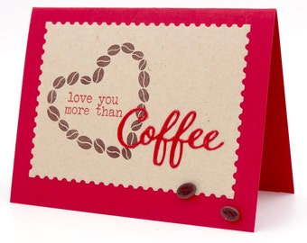 Anniversary Card, Coffee Lover Card, Anniversary Card, Funny Coffee Card, Love You More Than Coffee, Handmade Greeting Card