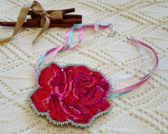 Rose embroidery Cross Stitch Jewelry cross stitch necklace cross stitch pendant red pink rose flower Hand Embroidery necklace flower pendant