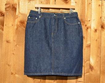 90s vintage a line denim skirt by moto UK 14