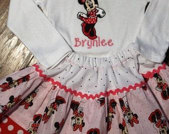 Minnie Mouse inspired 3 tier Twirl skirt,Minnie shirt,Minnie Red and white polka dot, Baby Minnie bodysuit,Disney shirt,Pink twirl skirt