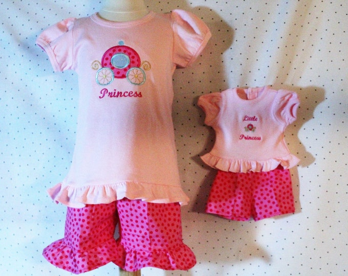 "Girl and AG Doll matching outfits,AG Doll Princess,Girls Princess shirt,Matching Doll outfit,Pink shorts,18 ""Doll outfit,18 inch Doll shirt"
