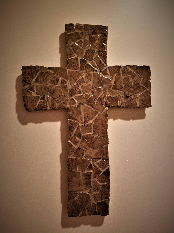 Handmade mosaic cross made from broken ceramic tile dailygadgetfo Choice Image