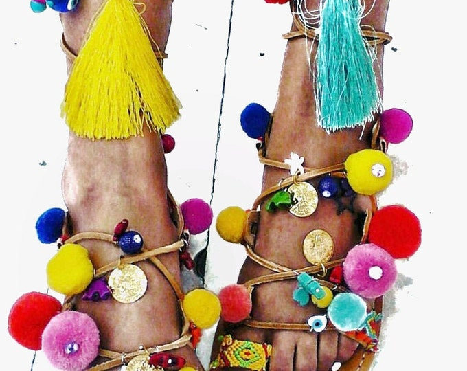 Pompom Greek sandals,gladiators tie up ,friendships, tassels,semiprecious stones,handmade  ethnic,boho, coins,evil eyes,women's sandals,flat