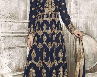 Indian Salwar Kameez Designer Pale Colored Faux Georgette Anarkali heavy embroidered Suit Dress