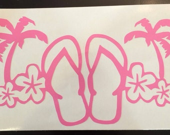 Flip Flop with Flowers Vinyl Decal