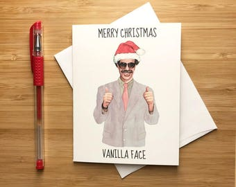 Sacha Baron Cohen Funny Christmas Card, Funny Holiday Card, Sacha Baron Cohen, Funny Christmas Seasons Greeting Card, Pop Culture Humor