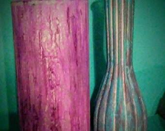 Glue Painted Vases