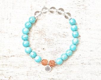 Bracelet beaded/Turquoise//Rudraksha/Yoga/Meditation/Gemstones/Hill tribe/Charm/Quartz/Boho/Gift/Meditation/Yoga jewelry