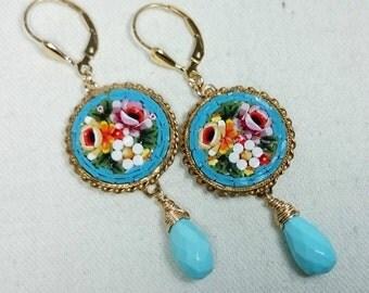 Micro Mosaic Earrings, Sleeping Beauty Turquoise, 14K Gold Filled, Grand Tour, Italian Souvenir Jewelry