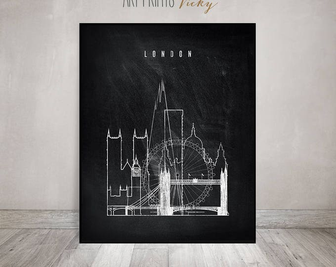 Wall art prints, London print, London skyline black and white Poster, Travel Gift, City skyline, chalkboard art, Home Decor, ArtPrintsVicky