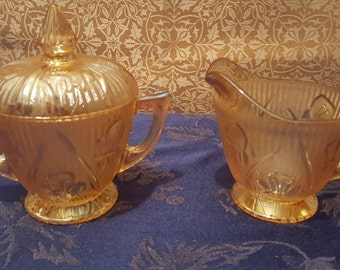 Vintage Jeanette Iris Herringbone Marigold Peach Creamer and Covered Sugar Bowl