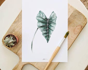 Tropical print | Tropical leaf paint |  Leaves print | Tropical decor  | Botanical decor idea | Housewarming gift idea