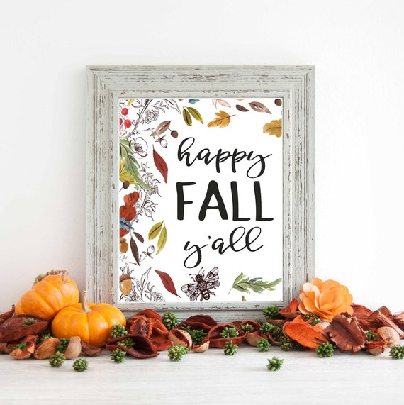 Fall Wall Art print, fall decor, autumn print, wall art print, fall is in  the air, home decor, fall art, happy fall yall, F100