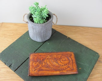 Vintage Distressed Brown Tooled Leather Wallet Clutch with Floral Design