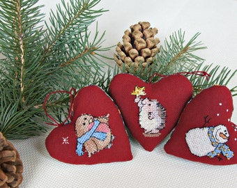 Fabric hanging hearts red Christmas toys Xmas gift set Cross stitch tree ornaments cute Snowman hedgehog bird textile Rustic Christmas decor