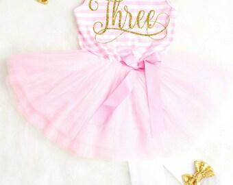Third Birthday Outfit Girls Birthday Dress Toddler Birthday Dress Pink and Gold Birthday Dress
