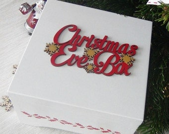 Christmas Eve Box - White Wooden Christmas Box - Decorated First Christmas Keepsake Box - Christmas Memory Box - Night before Christmas Box