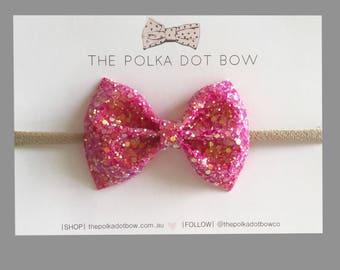 Fuchsia Pink Sparkle Glitter Bow Headband, Pink Glitter Bow,Baby Headband,Pink Baby Headband, Baby Headbands, Pink Glitter Bows, Valentines