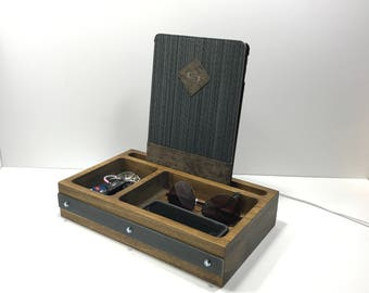 Industrial Style Wood iPad / Tablet Docking Station & Tray / Organizer / Charging Station / Valet