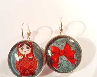 Earring stud earring ethnic original vintage doll colorful Russian nesting dolls