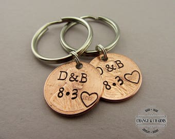 Personalized Anniversary Keychain, Lucky Penny Keychain, Boyfriend Gift, Husband Gift, Wife Gift, Girlfriend Gift, For Her, For Him, Custom