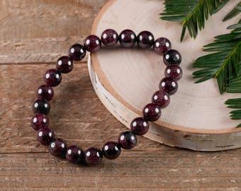 GARNET Power Bracelet - Garnet Bracelet, Garnet Crystal, Garnet Jewelry, Garnet Stone, Natural Garnet E0597