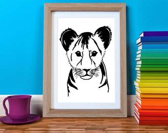 Lion Cub Print, Lion Nursery, Lion Gift, Jungle Nursery Art, Safari Nursery, Safari Animal Print, Kids Art, Monochrome Kids Print