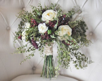 Winter Wedding Bouquet, Cream & Burgundy / Wine / Maroon Bouquet with Mini Ivy, Ranunculus, Baby's Breath, Berries, etc. - Rustic Bouquet