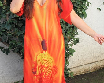 Buddha kaftan,orange beach coverup, Beach Cover ups, swimsuit Coverups, boho print,Handmade,tunic,Honeymoon, Vacation, cruise,Caftan,Yogi