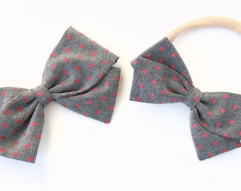 Gray and Pink Baby Bow - Pink Polka dot - Large or Small Bow with nylon headband or clip for girls