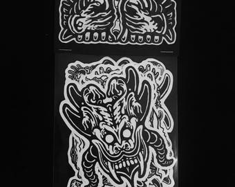 Abyss Abomination artist's sticker packs, pack 1 of 4; 4 pack of stickers horror stickers collectibles limited edition original artwork