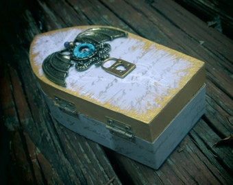 Unique, gold and turquoise, eyeball bat, tentacle winged eye, wooden jewelry box.