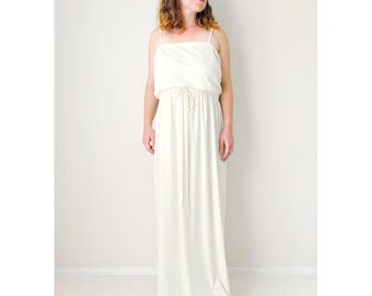 Vintage cream dress | 70's maxi dress wedding shower bridal shower engagement dress summer sleeveless dress ivory formal gown | size medium