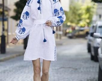 In Stock White Linen Tunic embroidered Vyshyvanka Short dress Mexican Dress Abaya, Linen Caftan. Free Shipping Boho style