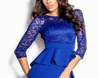 Blue Cocktail Dress Pink Midi dress Jersey Prom Dress long sleeve Party dress electric blue Evening dress Holiday dress Knee dress