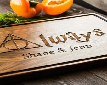 "Custom Cutting Board, Personalized, Harry Potter Gift ""Always"", Wedding Gift, Anniversary, Bridal Shower Gift, Kitchen Decor #3126"