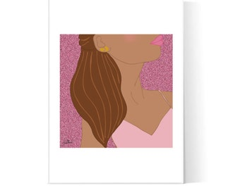 Brunette Pink Girl Collage Illustration / Girly Poster / Fashion Illustration / Teen Art / Printable Art / Instant Download / 2JPEG Files