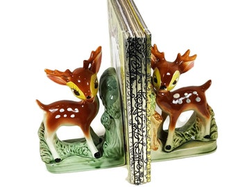 VINTAGE DEER BOOKENDS Kitsch Mid Century Bambis Bookends Ceramic Fawn Baby Deer Nursery Decor 1950s Book Ends