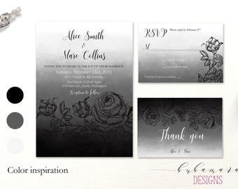 Gothic Wedding Invitation Set Printable Black White Goth Elegant Wedding Invitation Suite Victorian Roses Wedding Invitation Set - WS005
