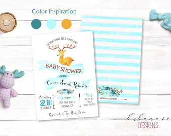 Mint Deer Baby Shower Invitation Baby Boy Shower Invite Printable Woodland Antlers Arrows Floral Hunting Aqua Baby Shower Invitation - CS022