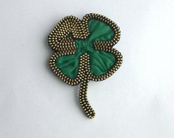 4 leaf clover Shamrock pin Saint Patrick's day Lucky clover Zipper jewelry Patrick's day brooch Irish brooch Shamrock jewelry leaf clover