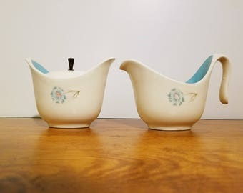 Vintage sugar bowl and creamer set with a blue flower, Taylor Smith and Taylor Ever Yours Boutonnière pattern