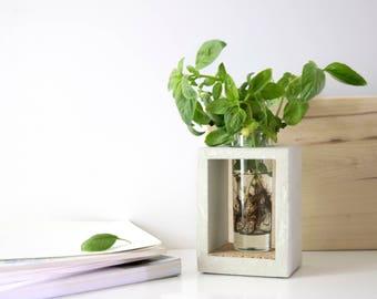 concrete vase minimalistic rectangle glass modern interior vase gray beton cement product with cork flower bouquet pot concrete decor