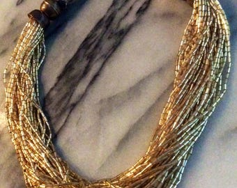 Vintage Tribal Gypsy Gold Tube Beaded Necklace with Brass & Metallic Wrapped Thread Clasp