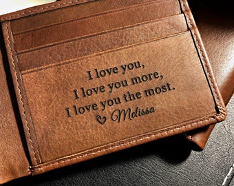 Personalized men's wallet • custom engraved wallet • personalized gift for dad, Fathers day gift • monogram wallet • Toffee  7751